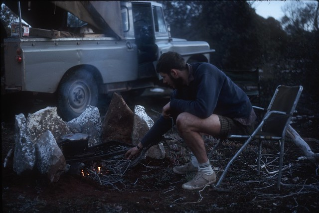 B2R23-24 camp at 96mi tank on old line with rabbit stew in the pressure cooker.