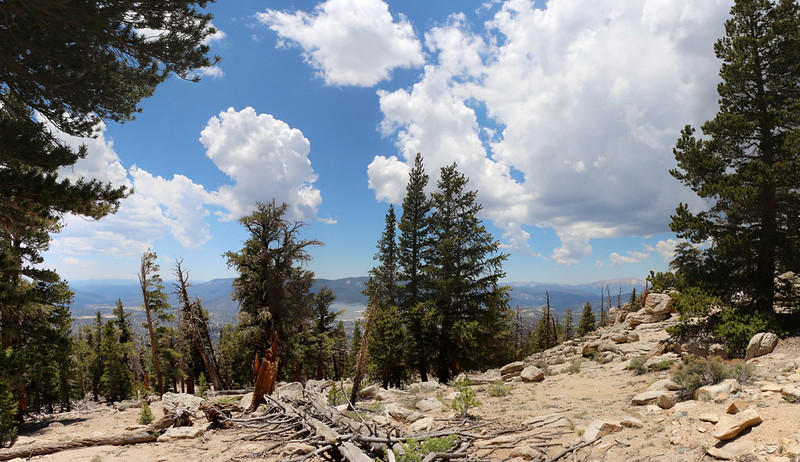 Cumulus clouds are building in the west as it nears 1pm on the PCT near Ash Meadow