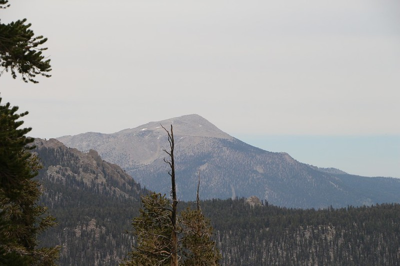 Zoomed-in view south to Olancha Peak (12133 ft elev) which is the highest peak in the Southern Sierra