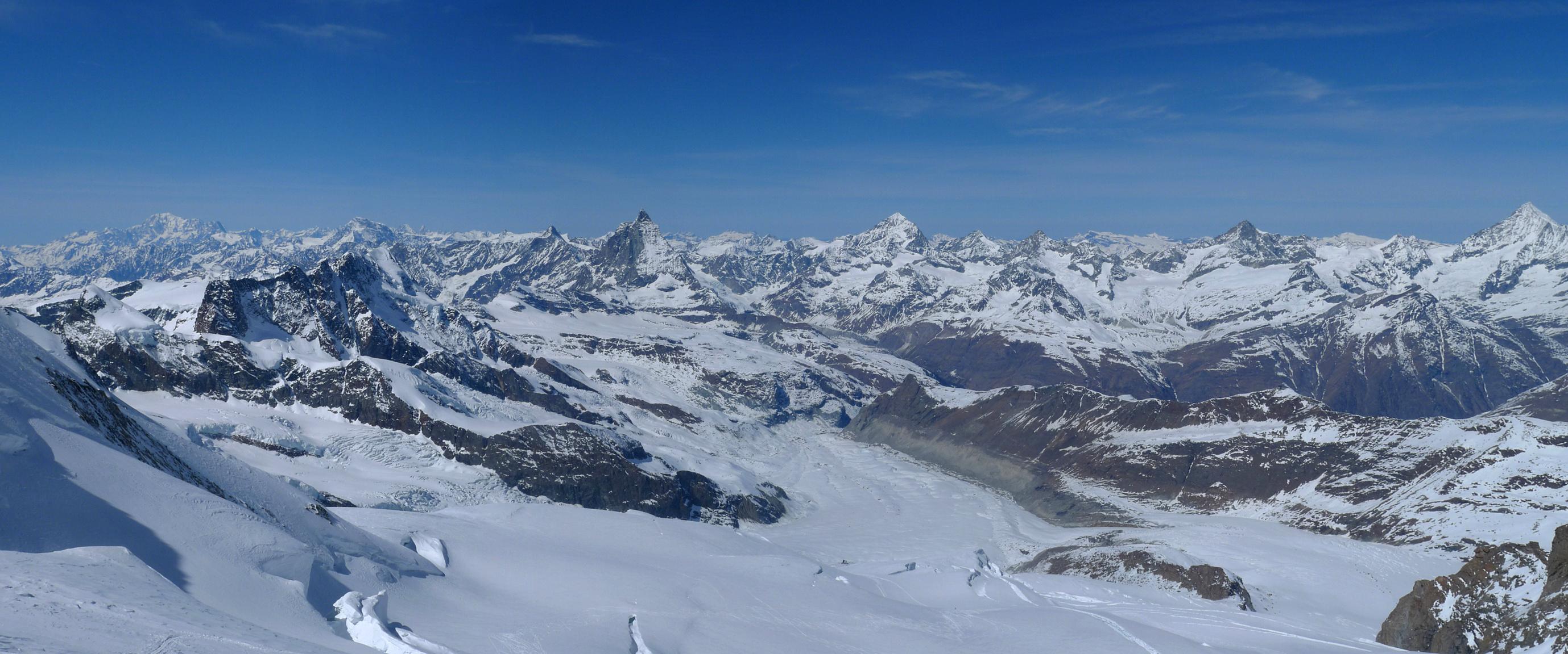 Dufourspitze / Punta Dufour - Monte Rosa Walliser Alpen / Alpes valaisannes Švýcarsko panorama 04