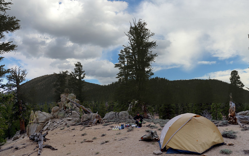 Our campsite at Diaz Creek at PCT mile 742, with Muah Mountain to the southeast