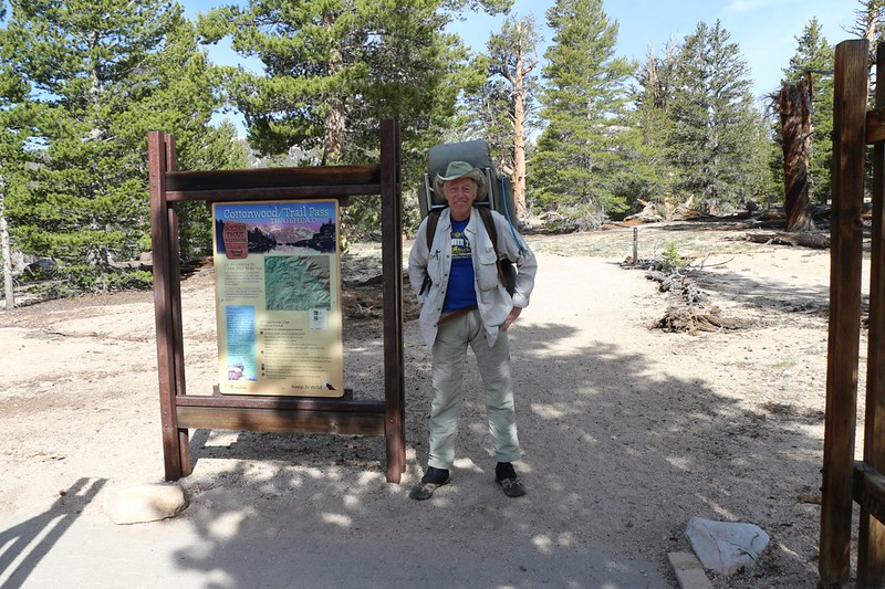 Me, looking clean and fresh at the Trail Pass Trailhead sign in Horseshoe Meadows