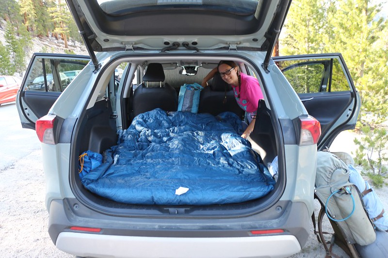 Vicki and I stayed one night in the back of the Rav4 at Horseshoe Meadows (9800 feet elevation) in order to acclimate