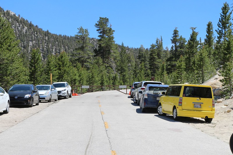 The National Forest Service still had the gate locked on Horseshoe Meadows Road just below the parking area