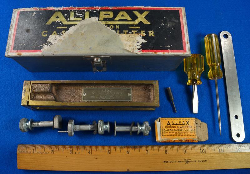 RD30393 Vintage Allpax Adjustable Extension Gasket Cutter Tool in Original Metal Case DSC08997