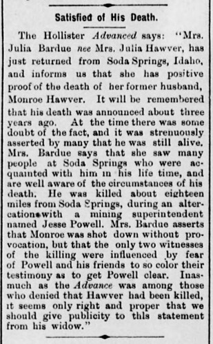 Monroe Hawver Death - San Jose Mercury-News 15 Jun 1883
