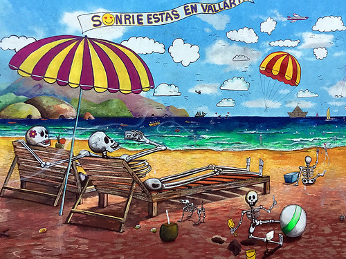 A mural of skeletons relaxing at the beach in Puerto Vallarta, Mexico