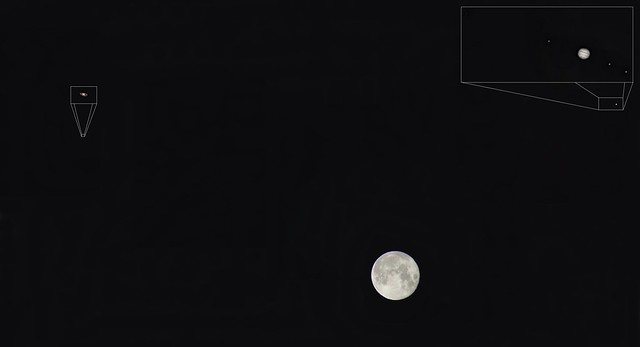 Conjunction among the Moon, Jupiter and Saturn Jul 5th 2020 (Montage)