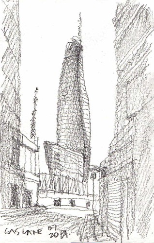 sydneyharbour millerspoint crowncasino pencilsketch streetscape