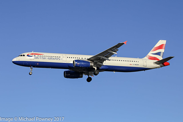 G-MEDM - 2006 build Airbus A321-231, on approach to Runway 27R at Heathrow