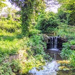 Small waterfall at Haslam Park, Preston