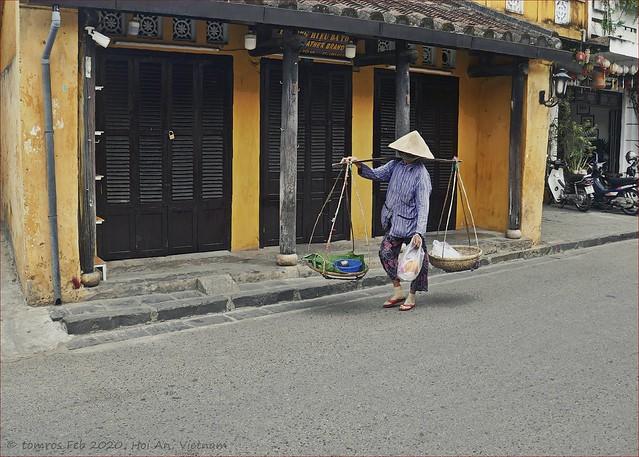 Carrying Baskets or 'đòn gánh'. Hoi An Classic, Vietnam.