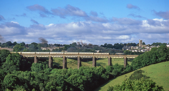 34067 On Liskeard Viaduct. 29/08/2005.