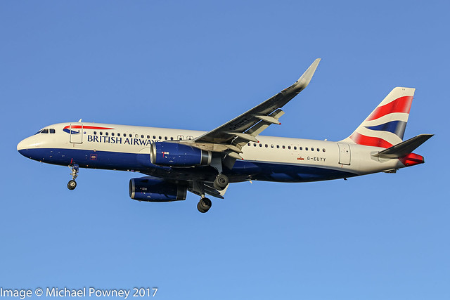 G-EUYY - 2014 build Airbus A320-232, on approach to Runway 27R at Heathrow