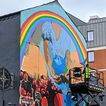 New mural being painted on the Northern Way pub on Friargate, Preston