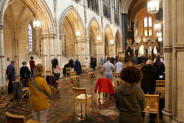 Members of the first congregation to attend the Eucharist in Christ Church Cathedral in 16 weeks on Sunday 5 July 2020.