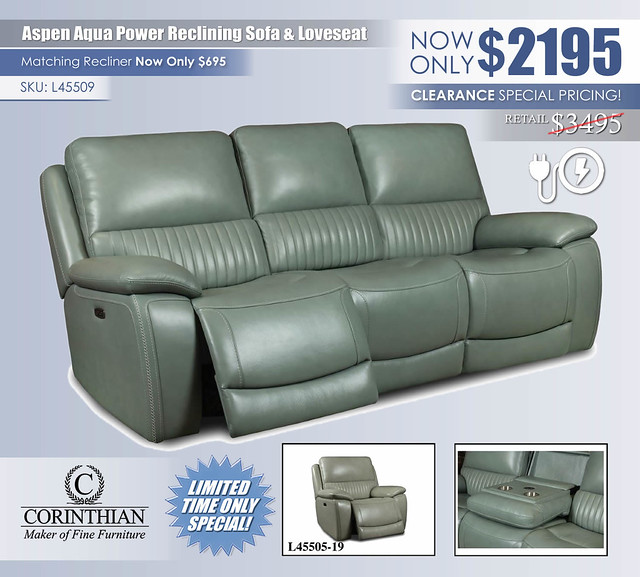 Aspen Aqua Sofa & Loveseat by CorinthianL45509