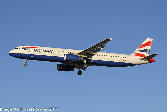 G-EUXK - 2007 build Airbus A321-231, on approach to Runway 27R at Heathrow