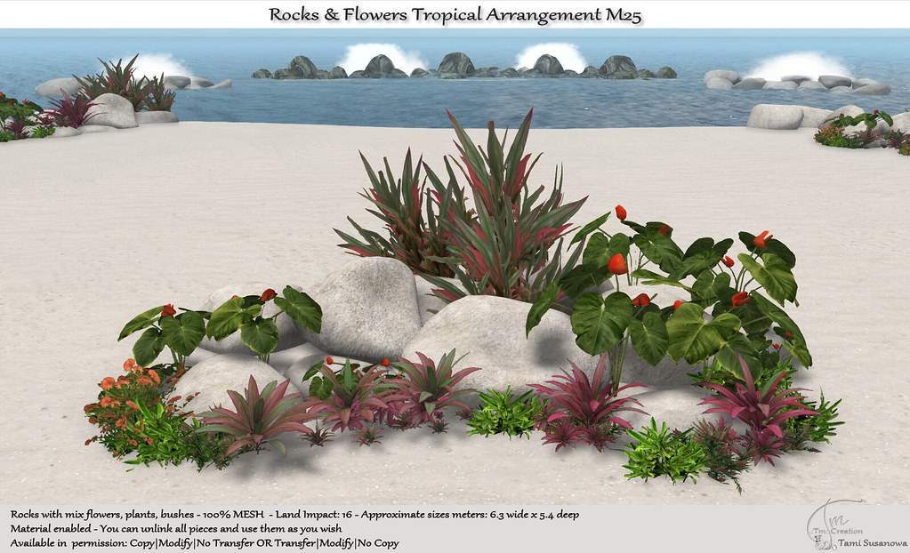 .:Tm:.Creation Tropical Flowers Rocks Arrangement M25