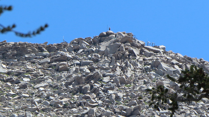 Zoomed-in view of the talus-covered summit of Olancha Peak - that's a trail runner we met while we ate down below