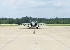 An F/A-18E Super Hornet taxis after returning to Naval Air Station (NAS) Oceana, July 7. (U.S. Navy/MC1 Jaima Fogg)