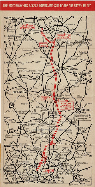AA Guide to the Motorway - descriptive brochure, 1959 - map of the motorway