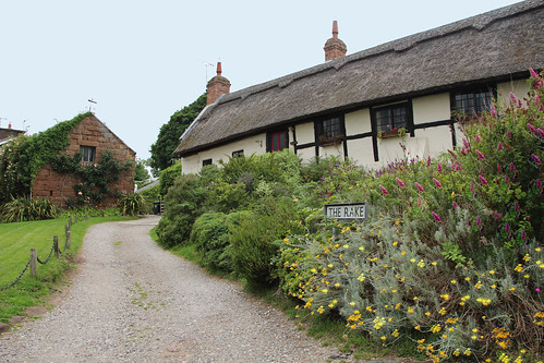 england english village cheshire rustic old oldbuilding stone cottages flowers road