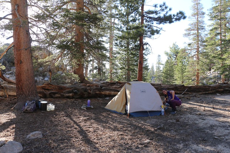 Our tent and campsite at Olancha Pass on the Pacific Crest Trail at mile 720