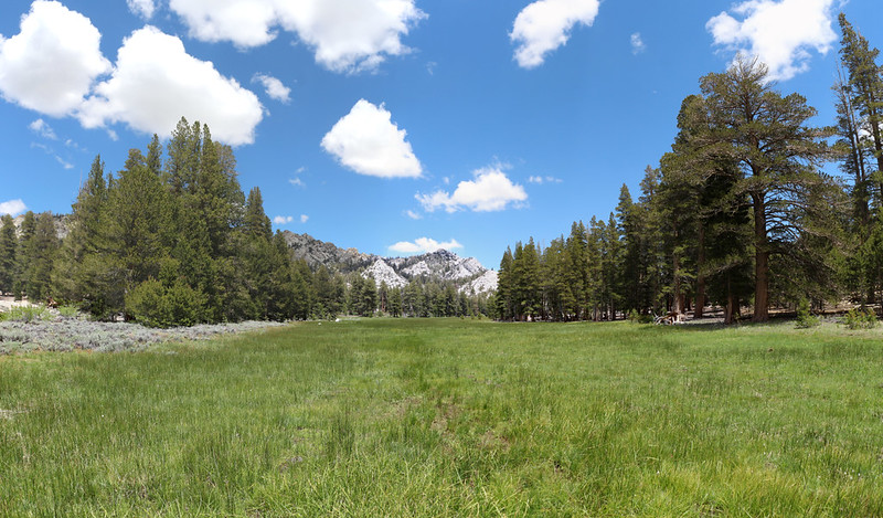 Gomez Meadow sits directly on the Sierra Crest and drains in both directions - this is the view east