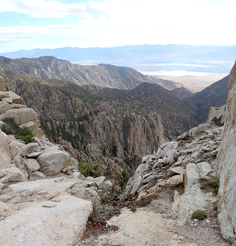 Looking down into the valley to the east of the crest, with the south fork of Ash Creek below us