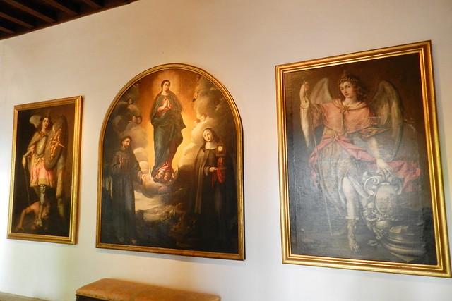 pinturas de San Rafael y San Miguel pintor y Alegoría de la defensa de la Inmaculada Concepción por los franciscanos capilla del Palacio de Viana Cordoba