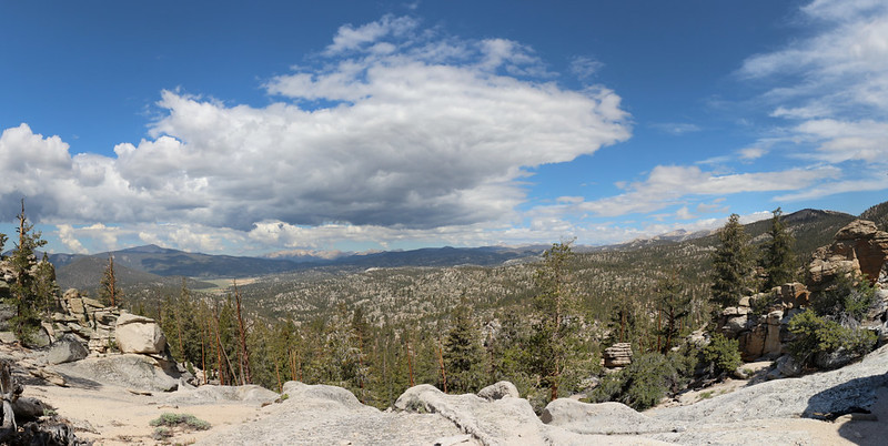 Panorama view west over the big valley that drains into the South Fork Kern River from the PCT near mile 733