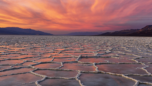 Fire sky over Badwater Basin