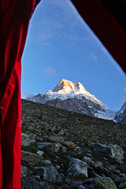Through the tent door....