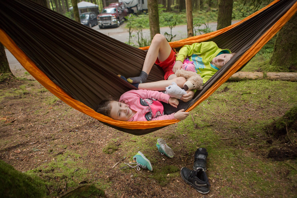 Hammock with boy and girl