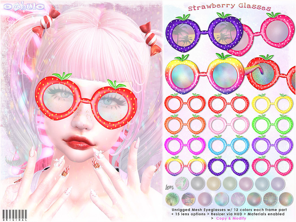 [ bubble ] Strawberry Glasses