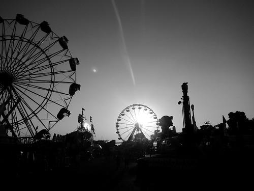 20july2013 grayscale edited sacramento california californiastatefair rides sunset silhouette