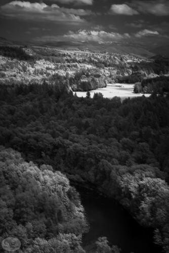 powellvalley oregon sandyriver mthood mounthood infrared trees valley clouds nikon garylquay garyquay blackandwhite heat river summer