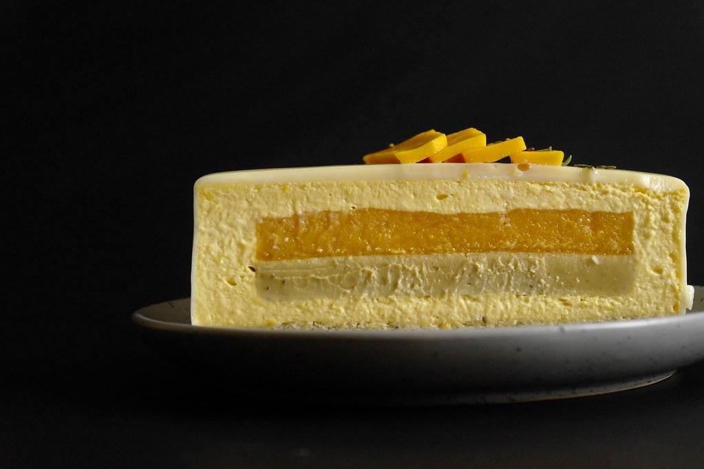 ataulfo mango & fennel seed mousse cake
