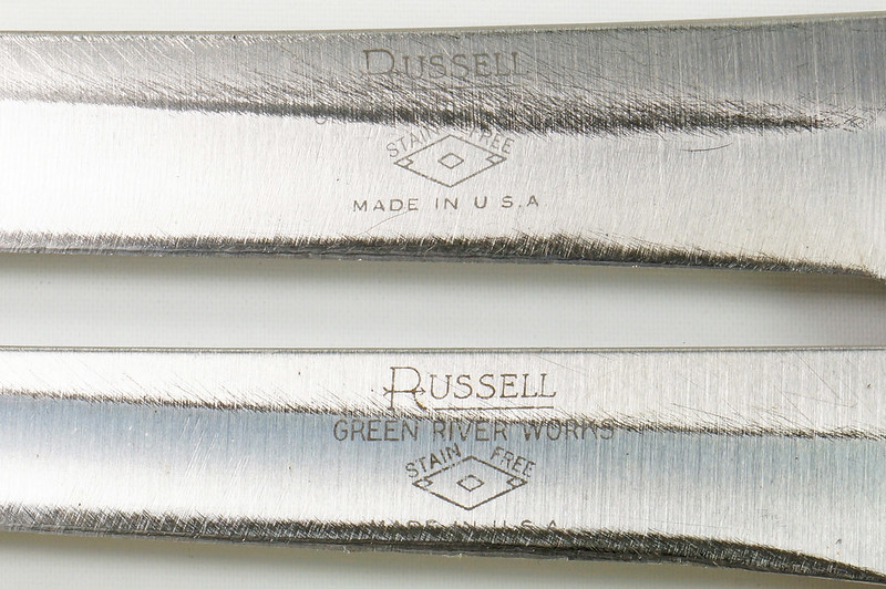 RD30591 2 Vintage Russell Green River Works USA Knives 8 Inch 179-8 & 6 inch 159-6 DSC09052
