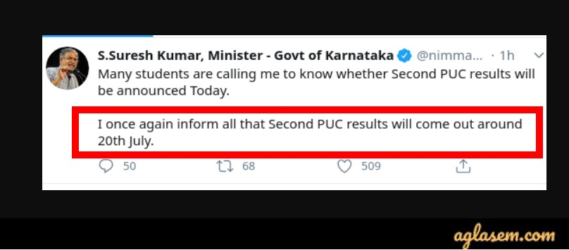Karnataka 2nd PUC Result 2020 date