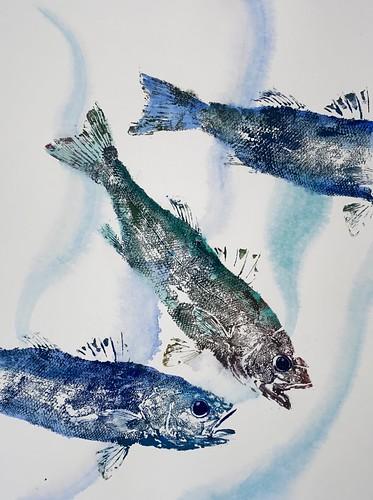 Sea bass 026 | £72 inc p&p UK | 2020 | 38x51cm |Japanese Paper on Hahnemuele Britannia Watercolour Paper