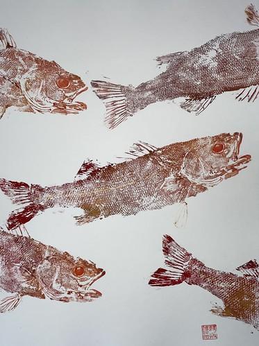 Sea Bass 034 | £62 inc p&p UK | 2020 | 38x51cm |Japanese Paper on Hahnemuele Britannia Watercolour Paper