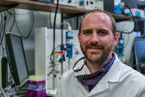 Byron Farnum in his lab.