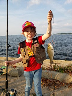 Photo of child holding a white perch