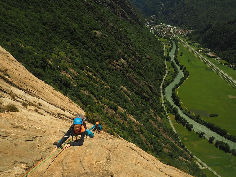 Aosta valley multi pitch. Coffee and gelato included. Climbers: Eric and Joseph Ashmore