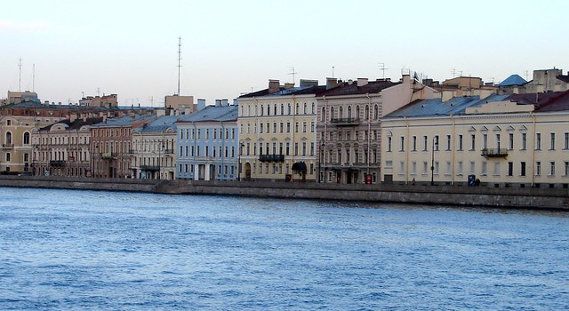 Buildings along the Neva River, St. Petersburg, Russia