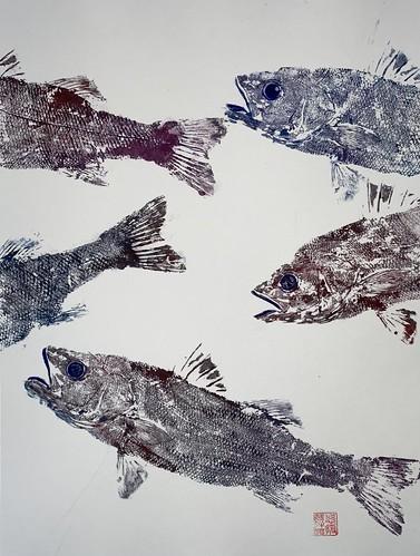 Sea bass 027 | £62 inc p&p UK | 2020 | 38x51cm |Japanese Paper on Hahnemuele Britannia Watercolour Paper