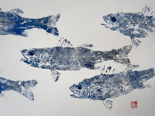 Sea Bass 033 | £62 inc p&p UK | 2020 | 51x38cm |Japanese Paper on Hahnemuele Britannia Watercolour Paper