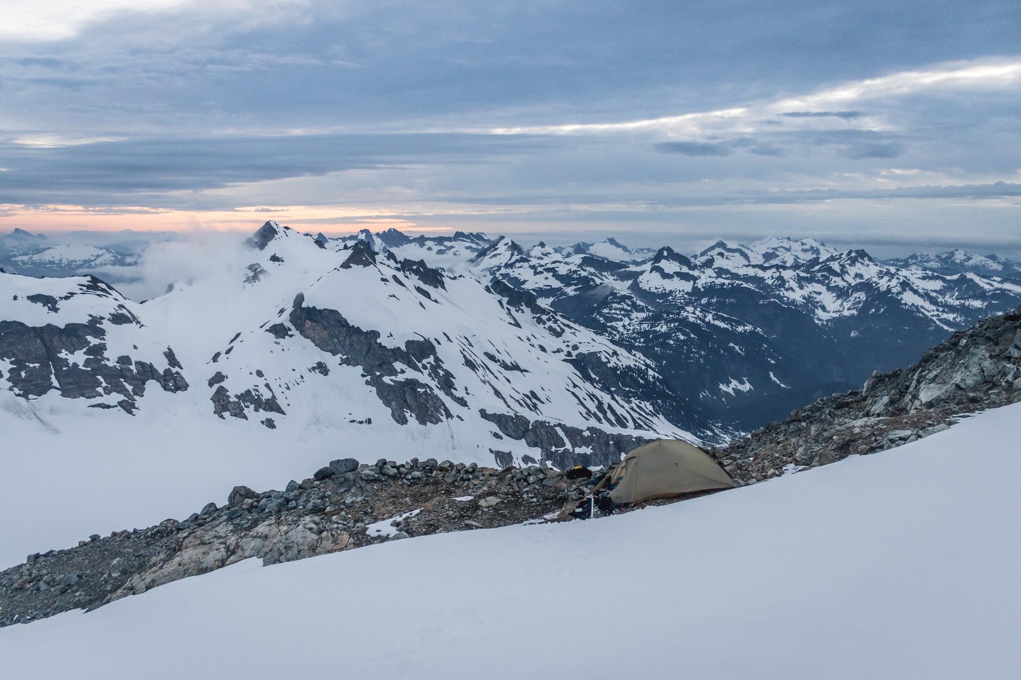 Camping below Sentinel Peak and Old Guard Peak